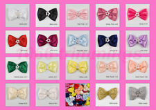Satin Ribbon Bow Tie With Cluster of Beads Choice of 17 Colours Pkts 10 50 100