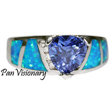 Tanzanite Opal Ring 3.5 ctw Trillion Cut CZ .925 Sterling Silver Ring