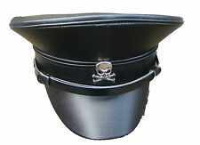SDL SteamPunk military leather look hat with metal skull