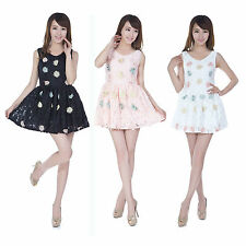 Womens Princess Lace Embroidery Daisy Floral Print Cocktail Party Mini Dress