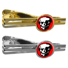 Skull Skeleton on Red Round Tie Bar Clip Clasp Tack