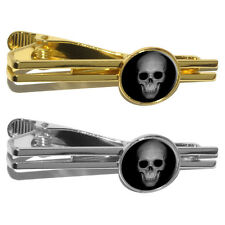 Human Skull - Front View Round Tie Bar Clip Clasp Tack