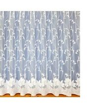 NEW SCROLL FLORAL / FLOWERS WINDOW WHITE NET/LACE CURTAIN 3912 SOLD BY THE METRE