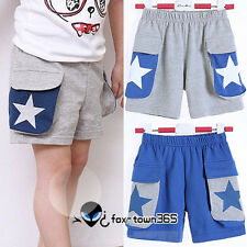 Summer Child Korean Toddlers Boys Girls Star Pockets Shorts Pants trousers 2-6Y