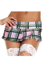 Cute Pink Plaid Pleated Sexy Schoolgirl Style Short Mini Skirt Student Costume