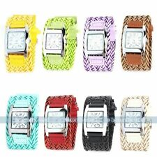 New Colorful Casual Braided Weaved Rope Band Women Lady Quartz Lady Wrist Watch