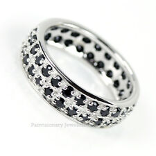 Black Cubic Zirconia Eternity Ring CZ 925 Sterling Silver Wedding Band 1/2 Sizes