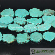 Natural Blue Turquoise Gemstone 15mm - 20mm Freeformed Nugget Sliced Beads 16''