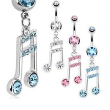 GEM PAVED MUSIC NOTE BELLY NAVEL RING DANGLE CZ BUTTON PIERCING JEWELRY B707