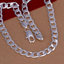 N005 Wholesale Mens Cool 1pcs 6-10mm Silver curb 20inch chain Necklace