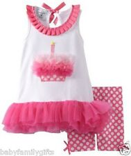 Mud Pie Party Time Pink Baby Girl Birthday Cupcake Tunic and Shorties Set 173782