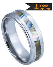 High Grade Tungsten Carbide Step Edge Natural Abalone Inlay  -6mm, & 8mm