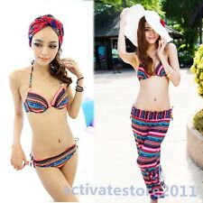 Fashion Ethnic Style 3 Pcs Striped Bikini w/Pant Padded Up Bathing Suit Swimwear