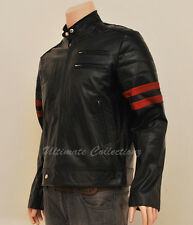 New Genuine Leather Fight Club Retro Mayhem Black Biker Jacket with Red Stripes
