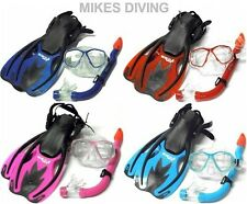 FULL 3PC KIDS SNORKELLING SET - mask flippers fins snorkel - WITH CARRY BAG