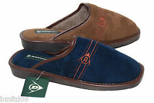 Mens New Dunlop Brown Navy Blue Faux Suede Slip On Fur Lined Cosy Slipper Mules