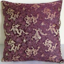 """Cushion Cover Chinese Brocade Pillow Case """"Off Gold Dragon on Wine"""" Custom Made"""