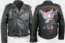 Mens Black Leather Motorcycle Biker-Style  Jacket with Live to Ride USA Patches