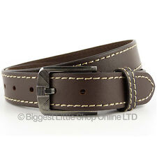 "New Quality MENS Brown REAL LEATHER BELT 1.25"" Wide by 7x up to 47"" Waist Jeans"