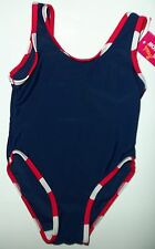 Girls Navy Blue with Red and White Trim Swimming Costumes
