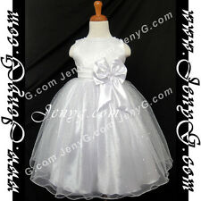 #SB11 Flower Girls/Formal/Wedding/Christening Gowns Dresses, White 0-4 Years