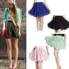 Vintage Women's Girl's High Waist Pleated Double layer Chiffon Short Mini Skirt