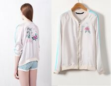 CHIC - COMFY LIGHT BEIGE ALOHA FLORAL PRINTED BOMBER JACKET ZIP 8