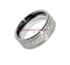 Men's Women's Etched Tungsten Carbide Wedding Ring Band 8MM Comfort - Clearance