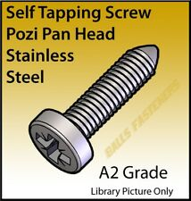 No.4, 6, 8, 10, 12 & 14 Pozi Pan Head AB Self Tapper Screws A2 Stainless Steel