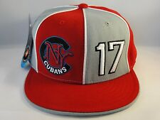 New York Cubans Negro League Red Gray Fitted Hat Cap 360 Rotating Bill