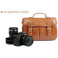 Waterproof Canvas Camera Shoulder Carry Bag Insert Padded Leather DSLR Canon EOS