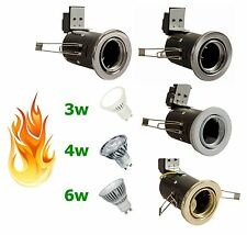 10 x GU10 LED Fire Rated Tilt Downlight Recessed Downlighter 240v Mains 3W 4W 6W
