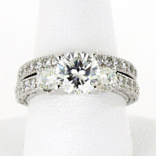 6MM Three Round Stone CZ Sterling Silver Engagement Ring 2 Ring Set Half Sizes