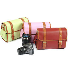DSLR Waterproof Canvas Camera Shoulder Carry Bag Insert Padded Leather Rucksack