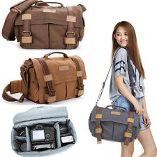 "Waterproof Men Women Canvas DSLR Camera Shoulder Bag + Padded Insert 14"" Laptop"