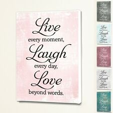 Live Laugh Love - Wall Quote Sign Saying Box Canvas Fabric Print - 6 Colours