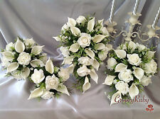 Ivory Rose & Calla Lily Teardrop Bouquet, Bridesmaid Bouquet, Wedding Flowers