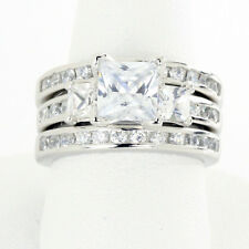 Three (3) Stone Princess Cut CZ Sterling Silver Engagement Three Ring Set