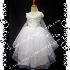 #PB01 Flower Girl/Holiday/Party/Formal/Communions Gown Dresses White 3-14 Years