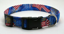 "Handmade Custom Designer ""Patriotic Stars & Stripes"" Dog Collar"