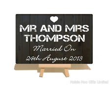 Personalised Mr Mrs Top Table Wedding Wooden Style Metal Plaque Sign Gift
