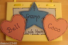 L@@K ♥ PERSONALISED ♥ 3 ANIMAL  SHARED CAGE SIGN/PLAQUE