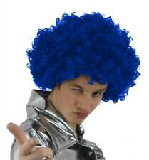 6 X BLUE CURLY AFRO WIG CIRCUS CLOWN UNISEX FANCY DRESS FOOTBALL SPORT SUPPORTER