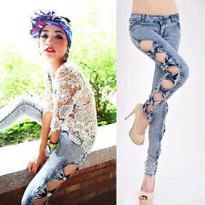 New Women Girl Vintage Side Bow Cutout Ripped Denim Sexy Jeans Trousers Jeggings