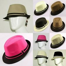 1X Vintage Woman Man's Cotton Fedora Trilby Gangster Straw Panama Casual Cap Hat