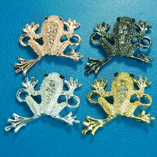 10pcs Side Ways Crystal Rhinestones Pave Cute Frog Bracelet Connector Charm Bead