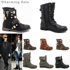WOMENS LADIES COMBAT ARMY LOW HEEL FLAT LACE UP BIKER STYLE MILITARY ANKLE BOOTS
