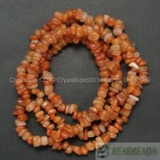 "Natural Red Aventurine Gemstone 5-8mm Chip Nugget Loose Spacer Beads 35"" Strand"