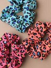 ANIMAL PRINT HAIR ELASTIC SCRUNCHY SCRUNCHIE 4543 LEOPARD LADIES GIRLS BRIGHT