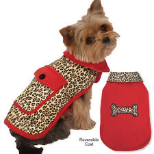 M. Isaac Mizrahi Leopard Reversible Coats Dogs Red Jacket Pet Coat Dog Designer